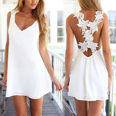 2016 Fashion Women Sexy V Neck Backless Lace Crochet Chiffon Summer Beach Mini Dress Vestidos White Dress Sweet 16 Dresses, Elegant Dresses, Sexy Dresses, Short Dresses, Summer Dresses, Mini Dresses, Sleeveless Dresses, Lace Dresses, White Sun Dresses