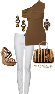 """""""brown/white"""" by natalie-buscemi-hindman on Polyvore  I love this. I wish I wasn't so terrified of white pants."""