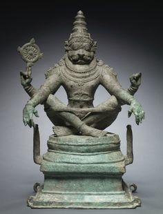 "Yoga Narasimha, Vishnu in his Man-Lion Avatar c. 1250 South India, late Chola Period Century) Bronze Narasimha means ""man-lion"" in Sanskrit, and is the name of one of the ten main avatars… Indian Gods, Indian Art, Sanskrit, Chola Dynasty, Norman, Shiva, Les Chakras, Asian Art Museum, Avatar"