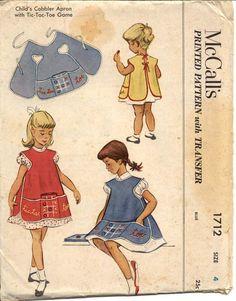 McCalls 1712 Girl's 1950s Cobbler Apron Dress Pattern Game Board Apron Tic Tac Toe Game Childrens Vintage Sewing Pattern Breast 23 UNCUT. $24.00, via Etsy.