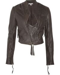Twenty8twelve Claudia Cropped Washed-leather Jacket in Gray (brown) | Lyst....black color is more of a statement piece than this gray 1... but still GORGz !!! if you find this get it - runs a little on small size though....!!! pERRY
