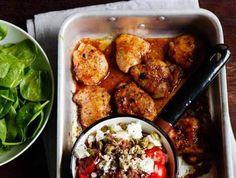 Rött ris med kyckling, fetaost & rostade pumpafrön