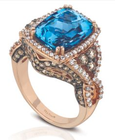 Levian-ocean wave-web-rose gold ring set diamonds and colour gemstones.