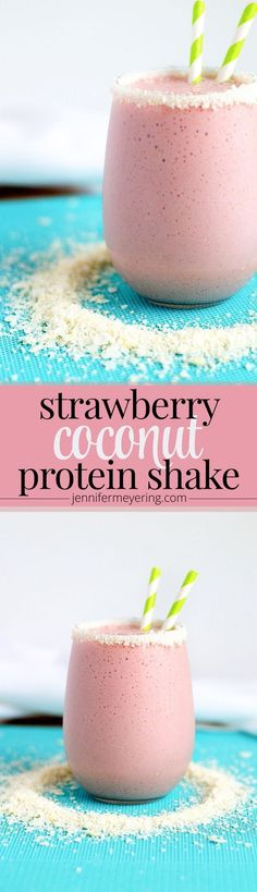 Strawberry Coconut Protein Shake - Sweet and creamy strawberry protein smoothie with coconut milk and flaked coconut for more of a tropical taste. Smoothies Vegan, Smoothie Proteine, Breakfast Smoothies, Fruit Smoothies, Strawberry Smoothie, Pineapple Smoothies, Diabetic Smoothies, Simple Smoothies, Homemade Smoothies
