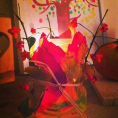 Blätter-Windlicht Bunt, Austria, Painting, Rug Hooking, Fall Leaves, Handarbeit, Creative, Paintings, Draw