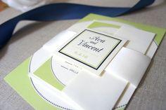 Green Wedding Invitation, Green and Blue Wedding Invitation, Modern Wedding Invites, Belly Band, Modern Wedding Invitation - DEPOSIT