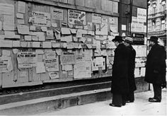 Poles attempting to find lost relatives. Walls like this, plastered with messages, appeared in every Polish city. (Courtesy of The Polish Institute & Sikorski