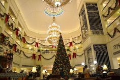 The gorgeous atrium and lobby at Hong Kong Disneyland Hotel during Christmas time.