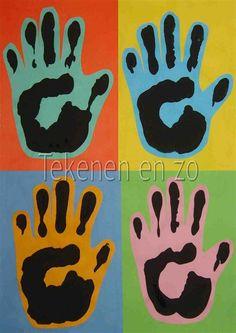 Tekenen en zo: Drukken met je handen, in de stijl van Andy Warhol