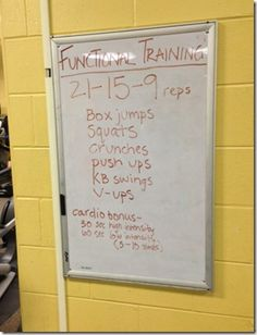 21-15-9 Box jumps. Squats. crunches. push ups. KB swings. V-ups