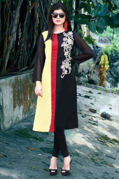 Party Wear Georgette Kurti in Black and Cream Colour.It has Round Neck,Full Sleeves.It is crafted with Embroidery Design...