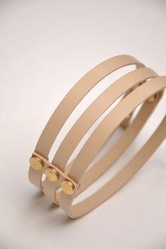 Aumorfia   LINEAR_A   TT_necklace   nude beige leather & goldish brass