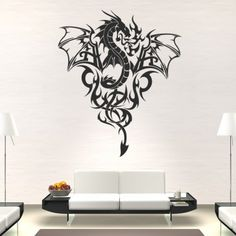 Dragon Print Wings Wall Art Sticker Wall Decall - Mythical Creatures - Fantasy
