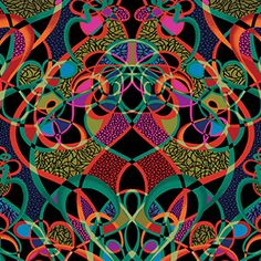 K363 Lots Of Knots - Red/Turquoise - another new fabric design - Lots of Knots, in 5 color ways from Paula Nadelsterns newest Palindrome Collection.