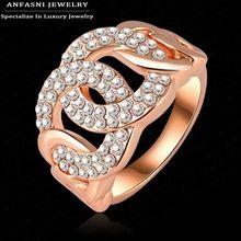 Anel genuine swa stellux anfasni luxurious rose banhado a ouro de cristal anel de noivado mulheres jóias ri-hq0143(China (Mainland))