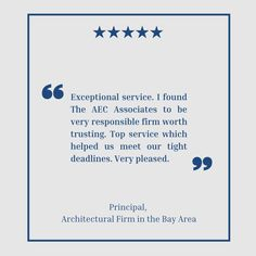 Thank you for your positive feedback and, most importantly, your trust! Client satisfaction is our number one priority, and we promise to stay reliable for your future requirements. The AEC Associates team is dedicated to delivering what we have promised to our clients as well as outstanding customer service for every transaction. We are always happy to serve you! #theaecassociates #outsourcingservices #outsourcing #aec