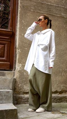 NEW Collection Loose Linen Olive Green Harem Pants   Extravagant Drop  Crotch Olive Green Pants Extravagant Trousers by AAKASHA A05131 b8fb4124a29f