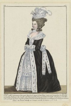"""Galerie des Modes, 37e Cahier, 6e Figure (1781) - """"Pelisse lévite with cuffs and Collar trimmed with ermine, the petticoat of spotted white Satin, the muff of the same trimmed with bands of ermine, and the Belt also of ermine, the Pouf surmounted with batiste flowers and plumes.  This Gown was worn by a Lady of quality during the Mourning for M. Thérèse of Austria, mother of the Emperor and the Queen of France. (1781)"""""""