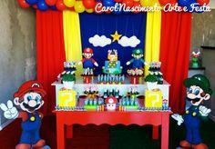 ...melhor game Mário e Luigi #mariobros Por Carol Nascimento Arte e  Festas Super Mario Birthday, Mario Birthday Party, Super Mario Party, 5th Birthday, Happy Birthday, Birthday Parties, Mario E Luigi, Monster Inc Birthday, Super Mario Brothers