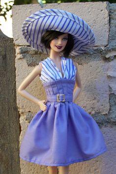 "OOAK ""Wisteria Walk"" summer dress fashion for Fashionista or model muse Barbie. $27.00, via Etsy."