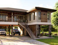 Docena Hill Climber House on Behance Tropical House Design, Small House Design, Modern House Design, Stilt House Plans, House On Stilts, Village House Design, Bungalow House Design, Village Houses, Philippines House Design