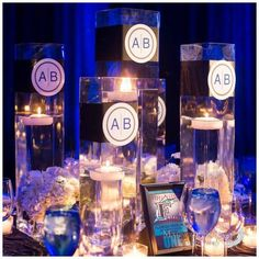 "a beautifully ""branded"" bar mitzvah celebration.  Logo stickers were a fabulous addition to the gorgeous centerpieces.  #barmitzvah #fabulousfinishingtouches #mitzvahmonday"
