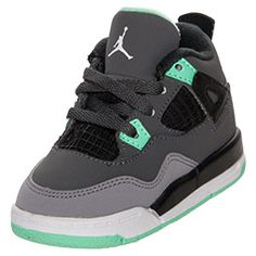 Boys' Toddler Jordan Retro 4 Basketball Shoes�| FinishLine.com | Dark Grey/Green Glow/Grey/Black