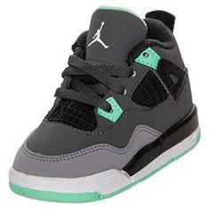 Boys' Toddler Jordan Retro 4 Basketball Shoes�| FinishLine.com | Dark Grey/Green Glow/Grey/Black