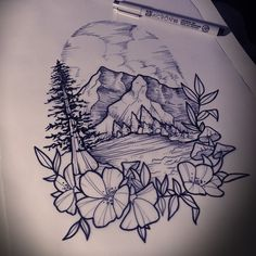 I really enjoyed drawing this. Would love to do more work like this. If anyone is interested in this style hit me up cause it was so much fun. #mountains #mountainrange #leafs #trees #mountaintattoo #tattoo #aceshightattooshop #aceshightattooshop