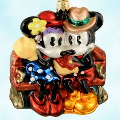 Christopher Radko Christmas Ornaments, Winter Romance,1999, 99-DIS-28, Disney, Mickey & Minnie Mouse, poinsettia, Mint in Box