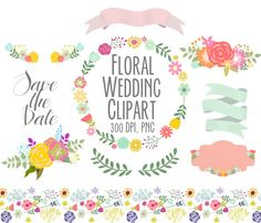 Spring Flowers Wedding Floral clipart, Digital Wreath, Floral Frames, Flowers, scrapbooking, wedding invitations, Ribbons, Banners on Etsy, $4.00