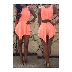 Rotita Sleeveless Hollow Waist Ruffle Decorated Pink Romper ($19) ❤ liked on Polyvore featuring jumpsuits, rompers, pink, patterned romper, sleeveless romper, ruffled rompers, ruffle romper and pink romper