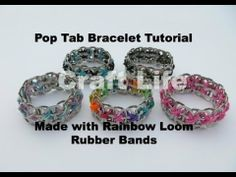 ▶ Craft Life Pop Tab Bracelet Tutorial Made with Rainbow Loom Rubber Bands - YouTube