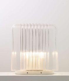 Angelo Mangiarotti; Enameled Iron and Molded Glass 'Lari' Table Lampi, 1978.