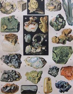 vintage mineral illustration, from an antique French encyclopedia, ca. 1900