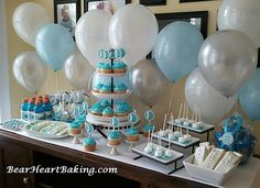 Wii Party Blue and White Dessert Table