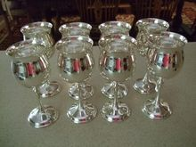 "Set Of Eight Kirk Stieff Silver Plated Water Goblets In ""Chateau"" Pattern. Goblets measure 7 1/8"" tall. Lovely condition. I also have a set of shorter ones that complement these."