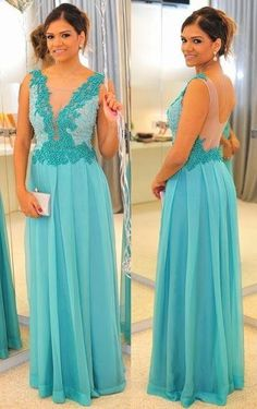 Discount 2015 Cheap Prom Dress With Sheer Neck Open Back Appliques Chiffon Turquoise Blue Plus Size Long Prom Dress Fitted Backless Party Gown 2014 Online with $101.04/Piece | DHgate