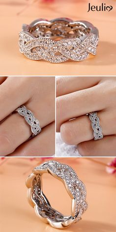 Unique Interwoven Round Cut Sterling Silver Women's Band. Dazzling Rings At Jeul… - schmuck ringe Curved Wedding Band, Unique Wedding Bands, Diamond Wedding Bands, Wedding Rings, Gold Wedding, Princess Cut Engagement Rings, Gold Engagement Rings, Engagement Sets, Ring Set