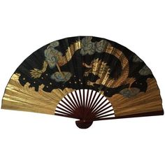 Decorative Chinese Dragon Fan ($185) ❤ liked on Polyvore featuring home, home decor, curiosities, gold home accessories, gold home decor, dragon home decor and chinese home decor