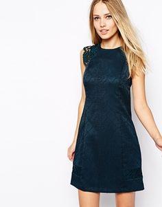 Enlarge Warehouse Jacquard Lace Shoulder Shift Dress