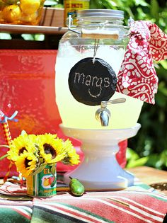 How to throw an easy Fiesta / Margarita Party! **Teresa has this type glass jug! -Recipe for strawberry! Taco Bar Party, Fiesta Party, Party Drinks, Fun Drinks, Cocktails, Alcoholic Beverages, Mixed Drinks, Yummy Drinks, Margarita Party