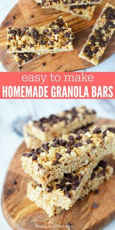Learn how to make Homemade Granola Bars. Homemade Granola Bar recipe is quick and easy to make. The kids will love this Chocolate Chip Granola Bars recipe. Chocolate Chip Granola Bars, Chewy Granola Bars, Homemade Granola Bars, No Bake Granola Bars, Granola Cereal, Chocolate Chips, Granola Bar Recipe Easy, Healthy Granola Bars, Granola Bar Recipes