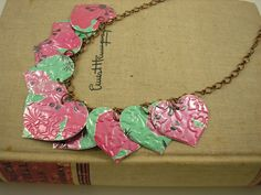 images jewelry from recycled arizona TEA CANS | Can Art - 9 Heart Necklace. DOUBLE-sided and Embossed. Arizona Tea ...