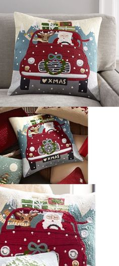 Pillows 20563: Nwt Pottery Barn Road Trip Santa Embroidered Pillow Cover 18 -> BUY IT NOW ONLY: $42.5 on eBay!