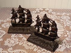 Vintage Cast Iron and Bronze Bookends  -  Old Ironsides Bookends  -  14-0709
