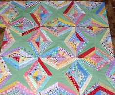 String stars--fun pattern to use up some of my scraps and strips.