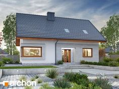 Projekt domu Dom w zdrojówkach - ARCHON+ Home Fashion, Garage Doors, New Homes, House Design, Mansions, House Styles, Outdoor Decor, Houses, Home Decor