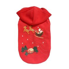 1PC Shirt Red Christmas Dog Clothes Santa Doggy Costumes Clothing Pet Apparel drop shipping #XG10