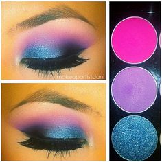 1.) PINK in crease 2.) PURPLE in V 3.) BLACK in inner part of V and blend well 4.) BLUE on middle/inner lid 5.) BLUE GLITTER over the blue shadow